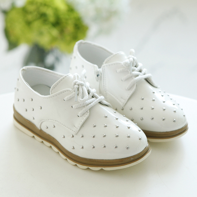 2017 New Spring Children Pu Leather Wedding Shoes Korean Style Wave Lace Girls Shoes Kid Bright Skin White Rivet