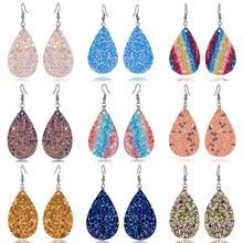 Rinhoo – boucles d'oreilles Boho multicolores en cuir PU, goutte d'eau, paillettes goutte d'eau, bijoux à la mode