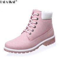 LALA IKAI 2016 Autumn Women Boots Size 9 10 Platform Women Ankle Boots Soft Leather Lace