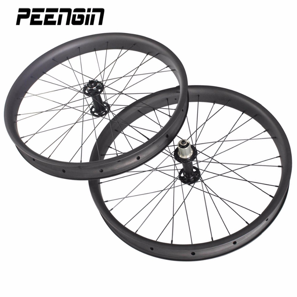 65/80/90/100mm 26er carbon fat bike wheels clincher tubeless compatible rim Powerway M74 thru axle carbon snow bicycle wheelset