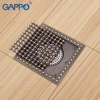 GAPPO Drains Shower Floor Drains Square Antique Shower Drain Strainers Bathroom Floor Drain Chrome Plugs