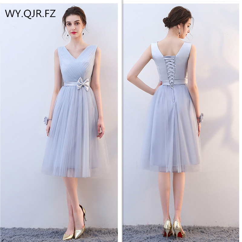 KBS021#Grey Net Yarn Short Lace Up V-neck Bow Bridesmaid Dresses Bre Wedding Party Prom Dress Girl 2019 Wholesale Cheap Clothing