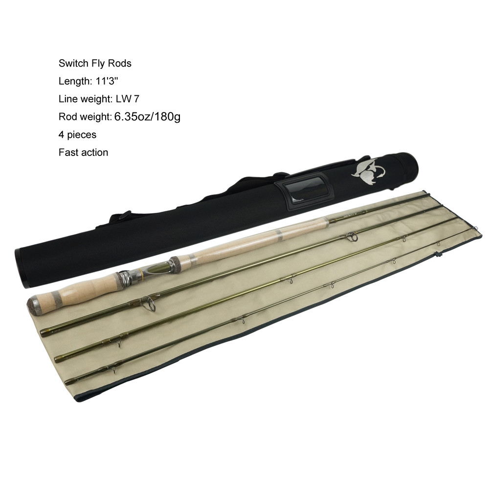Free Shipping Aventik IM12 7wt 11ft 3in 4SEC Fast Action Switch Fly Rod Weight 180g Fly