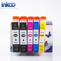 INKOO 5PK 178XL 178 Ink Cartridge Compatible Replacement For HP 178 Deskjet B010b B109c B110a B209b