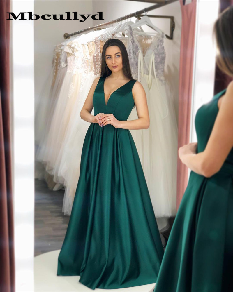 Mbcullyd Dark Green A-Line   Prom     Dress   Long 2019 New Sexy V-neck Formal Floor Length   Dress   Party Gowns Plus Size robe de soiree