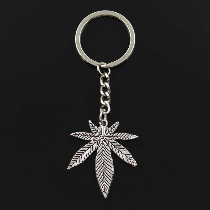 Fashion 30mm Key Ring Metal Key Chain Keychain Jewelry Antique Silver Plated maple leaves 39x34mm Pendant