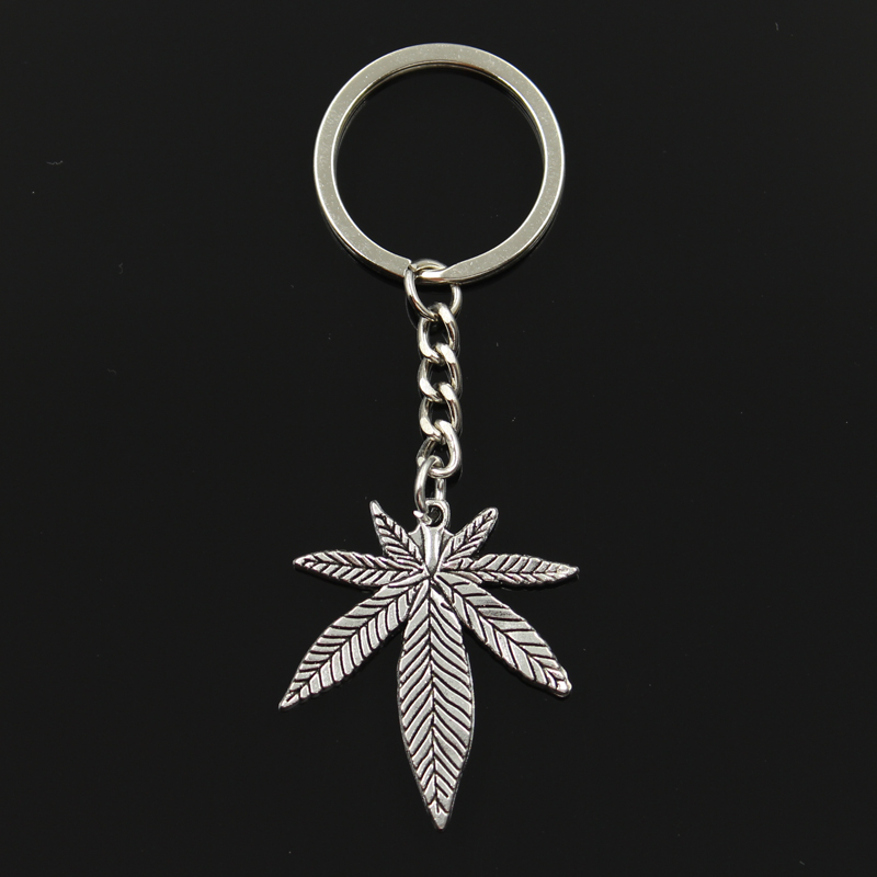 Fashion 30mm Key Ring Metal Key Chain Keychain Jewelry Antique Bronze Silver Color Plated Maple Leaves 39x34mm Pendant