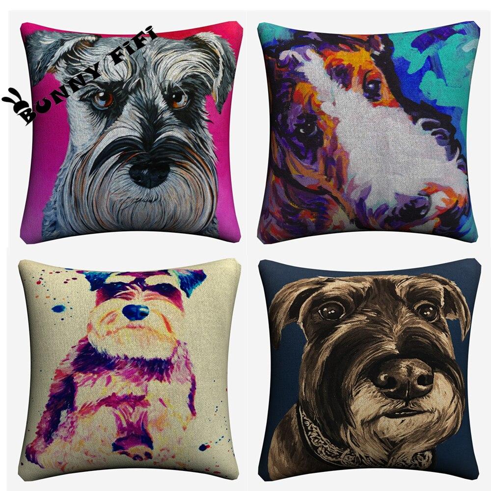 Schnauzer Watercolor Dog Decorative Cotton Linen Cushion Cover 45x45cm For Sofa Chair Printed Pillowcase Seat Car Home Decor