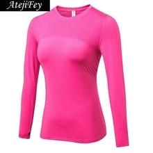 AtejiFey Hot Women Fitness Tight female T-shirt Dry Fit Training Sport Suit Running Sportswear Long sleeve Gym Yoga Shirt