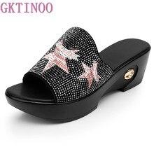 31880a7161 GKTINOO Verão Cunhas Chinelos Plataforma de Salto Alto Mulheres Sapatos Das  Senhoras do Deslizador Do Lado
