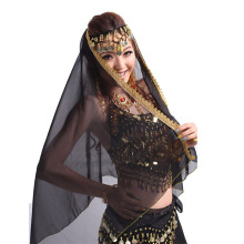 Women Belly Dance Chiffon Big Veil Shawl Skirt Scarf Gypsy Tribal Gold Trim Head