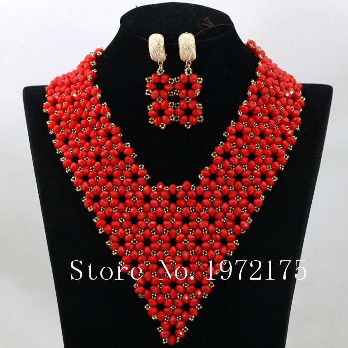 Superior Red Indian Bridal Beads Jewellery Set Handmade Nigerian ...