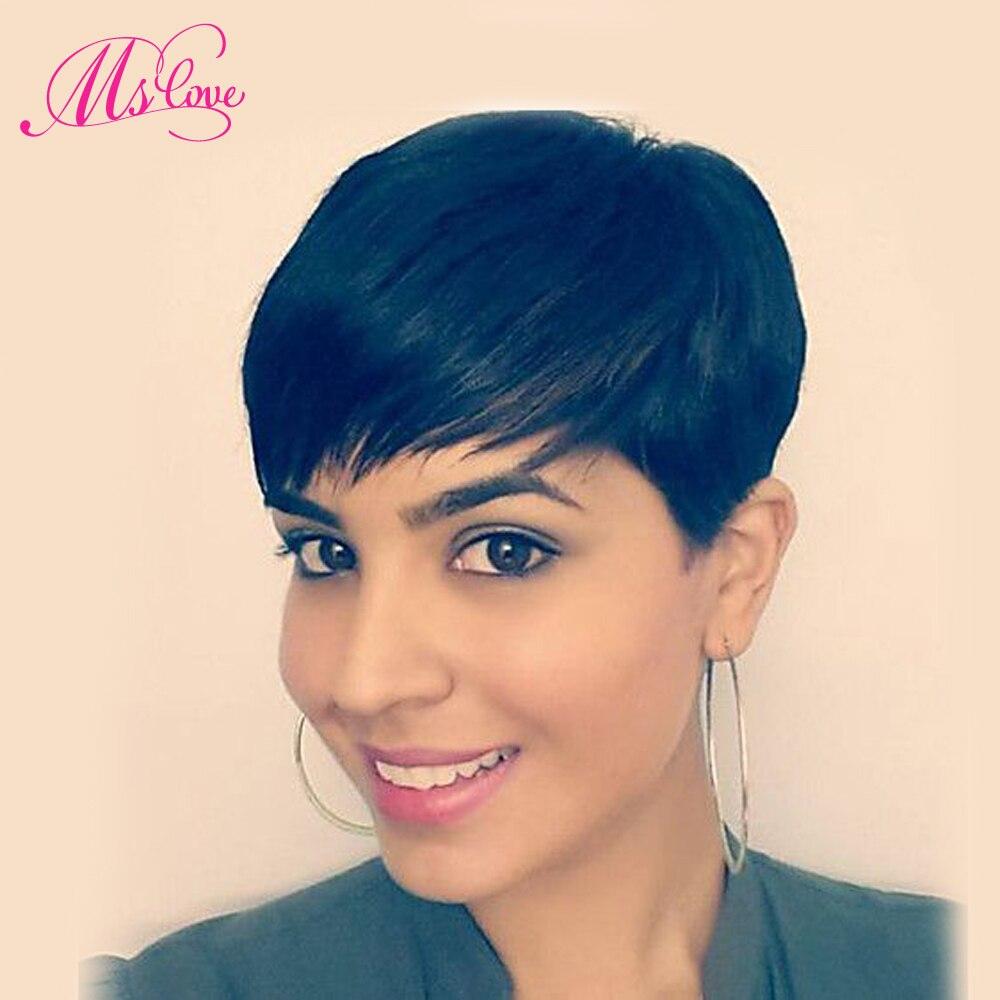 Ms Love cheveux courte droite Bob perruque pour les femmes brésiliennes Remy perruque de cheveux humains livraison gratuite