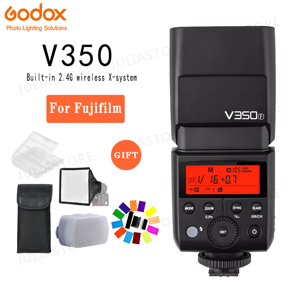 Godox V350F Flashes Speedlite Wireless TTL Mode Camera Flash SpeedlightTTL 1/8000s HSS for Fujifilm with Li-ion BatteryGodox V350F Flashes Speedlite Wireless TTL Mode Camera Flash SpeedlightTTL 1/8000s HSS for Fujifilm with Li-ion Battery