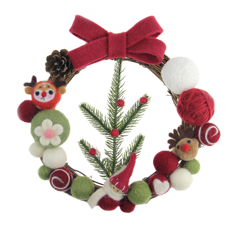 Us 10 73 25cm Christmas Wreath Wool Felt Garland Diy Kit For Home Decor Wedding Party Decoration Handmade Pine Felt Floral Wreath In Wreaths