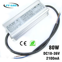 80W LED Power Supply Driver 2100mA DC18 36V 8 10 Serise * 7 Parallel Watperproof Constant Current Aluminum High Power LED Driver