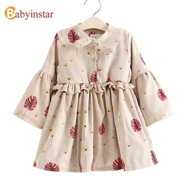 Babyinstar/Обувь для девочек платье Новинка 2017 года зимняя Брендовая детская теплая платье с галстуком-бабочкой с расклешенными рукавами оборками Цветочные Детские повседневные платья