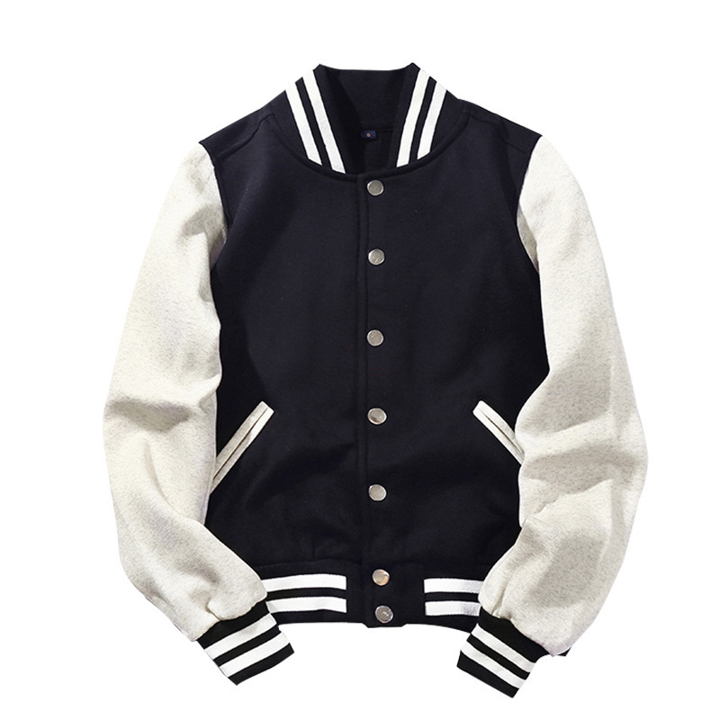 2019 New Arrival Brand Single Breasted Patchwork Short Preppy Style Rib Sleeve Bomber Jacket Men Cotton Casual Baseball Coat