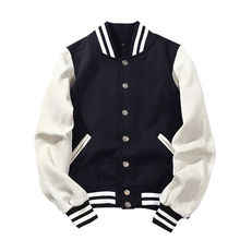 2019 New Arrival Brand Single Breasted Patchwork Short Preppy Style Rib Sleeve Bomber Jacke