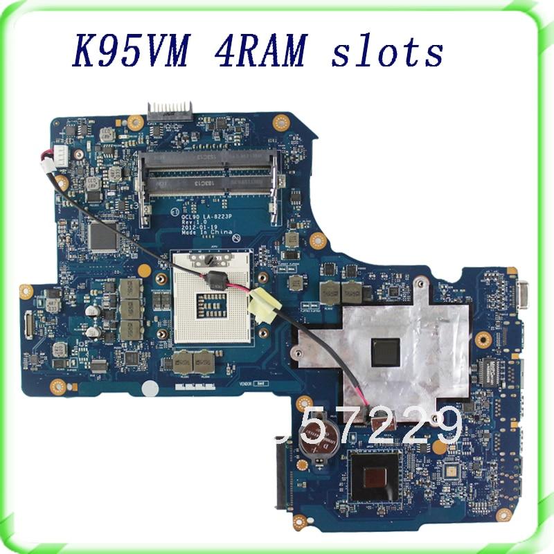 For Asus K95VM A95VM laptop motherboard with 4 ram slots HM76 2 DDR3 Fit For ASUS A95V K95V K95VJ A95VJ Mainboard 100% Tested for asus laptop mainboard a43s x43s k43sj a43sv k43sv k43sm series motherboard gt540m ram 1gb ddr3