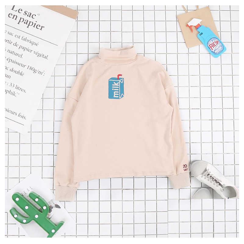 Kawaii Candy สี Uzlang เต่าคอนมเสื้อกันหนาว Harajuku เย็บปักถักร้อยสุภาพสตรี Hoodie สไตล์ญี่ปุ่นสีชมพู Pure สี