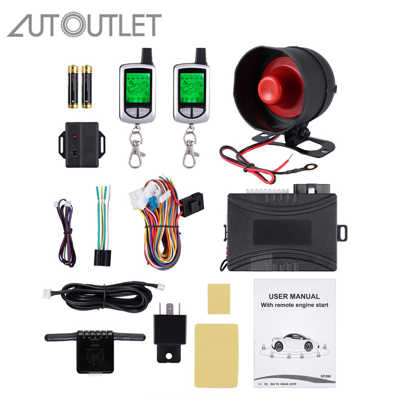 AUTOUTLET Two 2 Way LCD Remote Engine Start Car Alarm Security System With Keyless Entry Central Door Locking Silent Arm