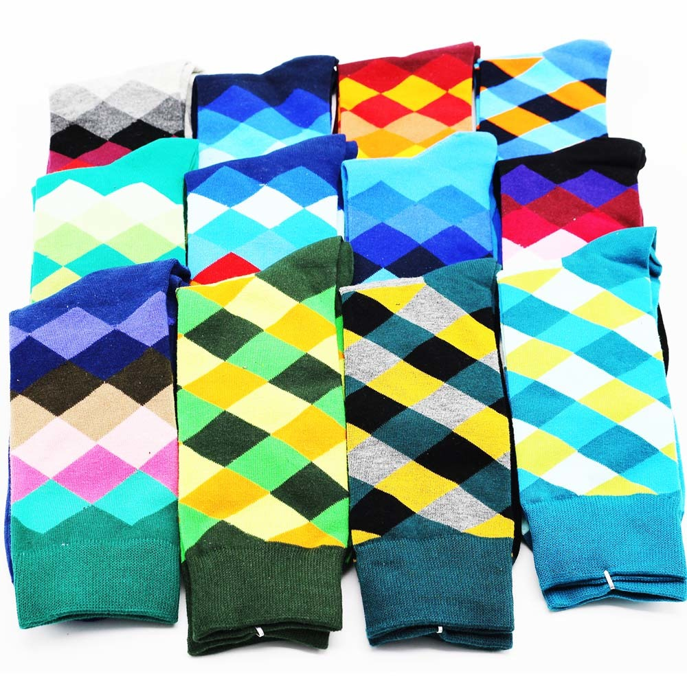 New mens novelty hip hop men colorful socks Man brand high quality long solid color dress socks wholesale (12 pairs)