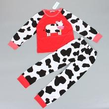 free shipping girl lovely pajamas full sleeve cotton baby cat pajamas cartoon character one color 2 pcs set