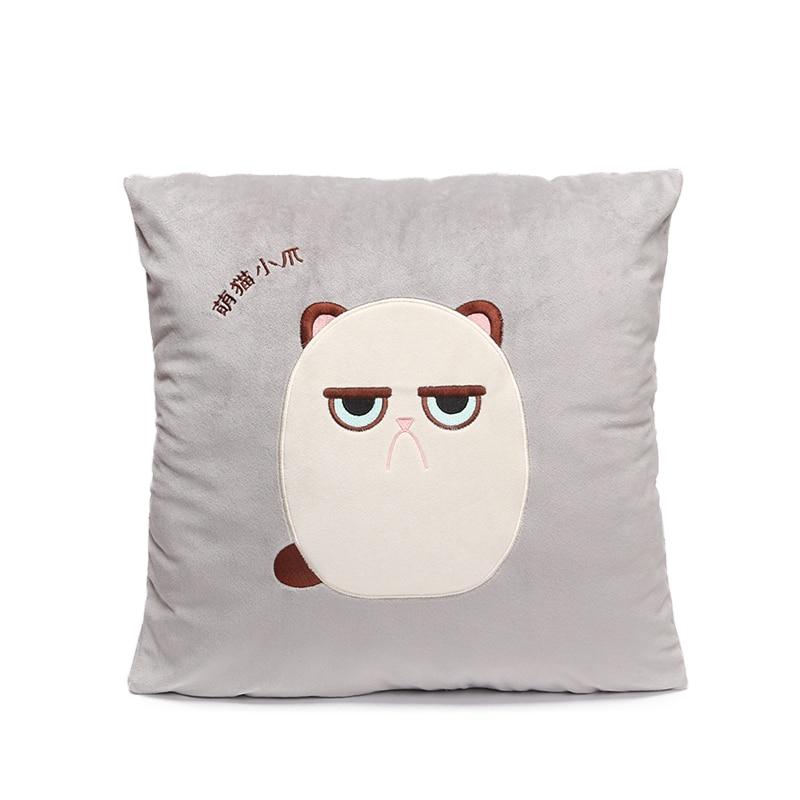 MICROPLUSH 42*42cm Grouchy Kitten Cat Pillowcase Toys Soft Stuffed Animal Angrey Cat Pillow Case Christmas Decoration Ornament