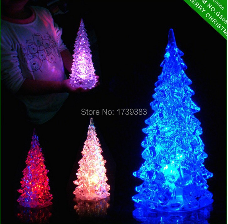 50pcs/lot LED Cristmas Tree Decorations New Year Christmas Gift led Dream changing colors Crystal trees Ornaments for holidays