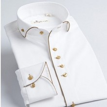 Гной sleev французский длинный воротник slim fit рубашка рубашки мужской стиль