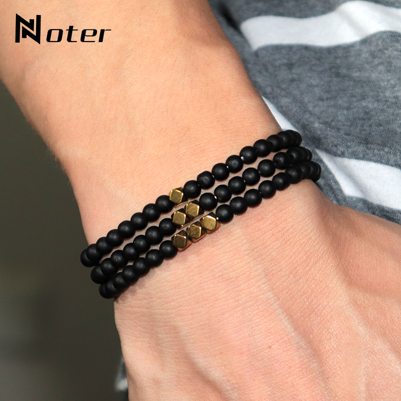 Noter Minimalist 4mm Matte Stone Bracelets Men Women Vintage Gold Color Geometric Strand Braslet Hand Jewelry Accessories Gift