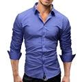 Camisa de Manga Larga de Los nuevos Hombres, Diseño Superior Pequeña Camisa de Cuadros de alta Calidad para Los Hombres, Tamaño M-3XL Lo Suficientemente Grande, 7 colores, usted digno de lo tiene