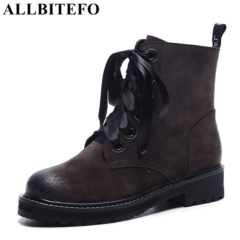 Фотография ALLBITEFO new arrive Nubuck leather thick heel casual women boots fashion medium heel martin boots winter boots bota de neve