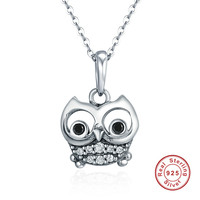 Authentic 100 925 Sterling Silver Animal Cute Owl Necklace Women Pendant Necklace Sterling Silver Fashion Jewellery