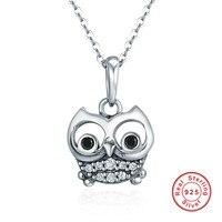 Authentic 100% 925 Sterling Silver Animal Dễ Thương Owl Vòng Cổ Nữ Mặt Dây Chuyền Vòng Cổ Sterling Silver Đồ Trang Sức Thời Trang