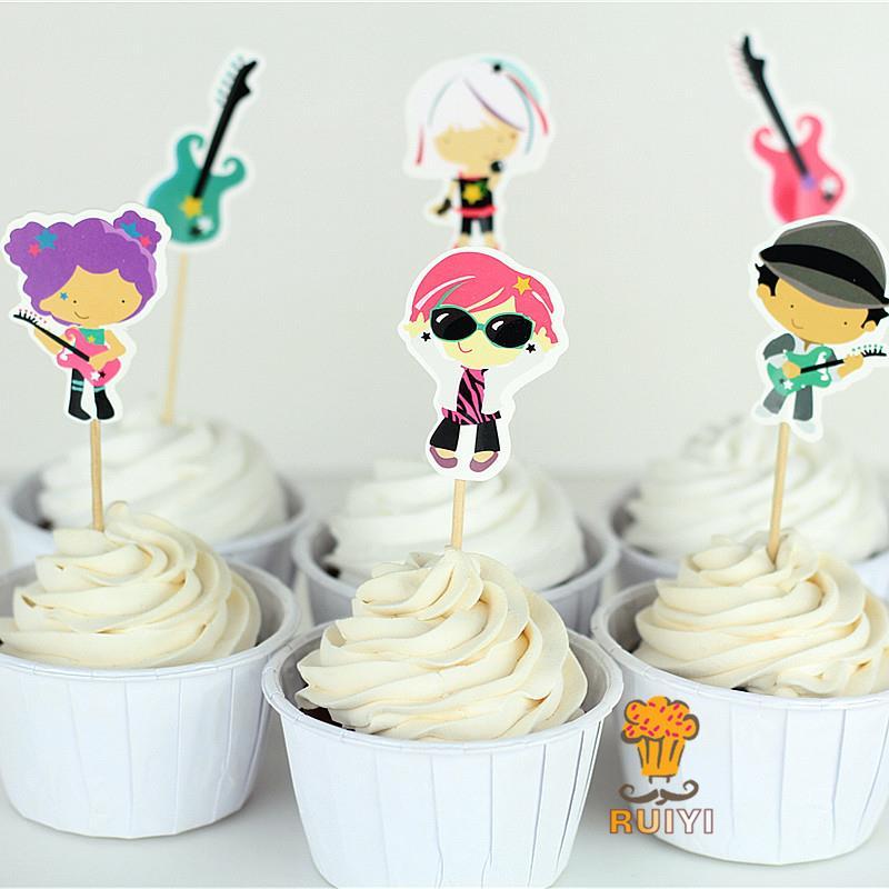 24 шт. рок-н-ролл Гитары музыка моноблок бокалы для кексов выбрать душа ребенка Дети день рождения поставки