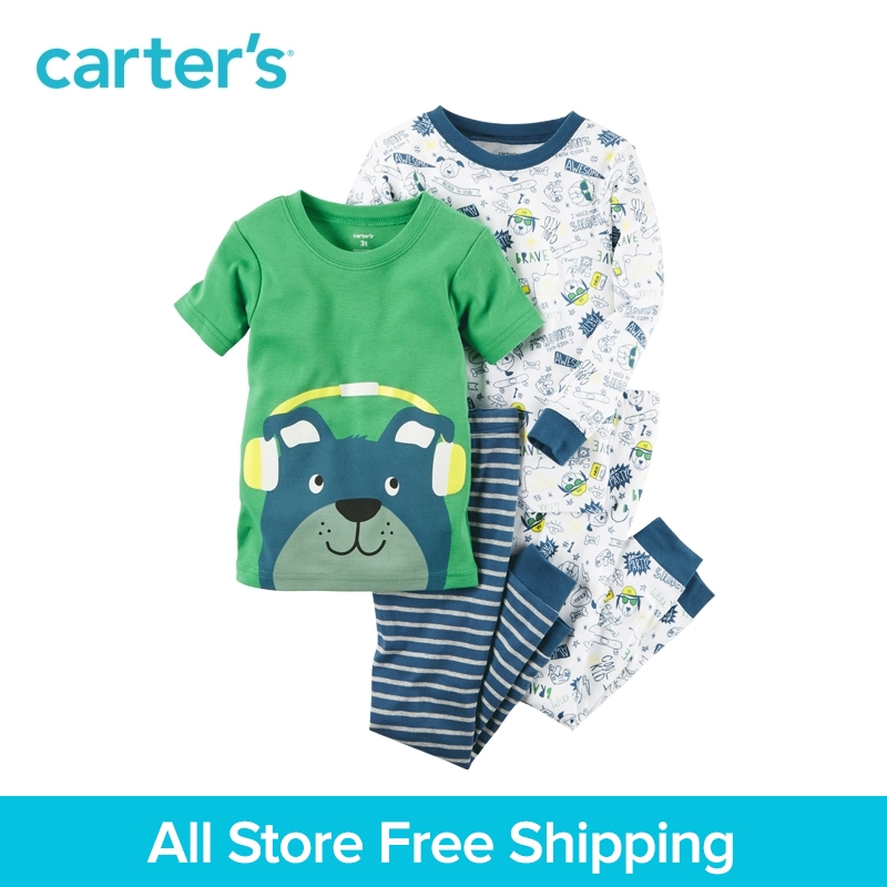 Carter's 4pcs baby children kids Snug Fit Cotton PJs 321G245,sold by Carter's China official store carter s 1 pcs baby children kids long sleeve embroidered lace tee 253g688 sold by carter s china official store