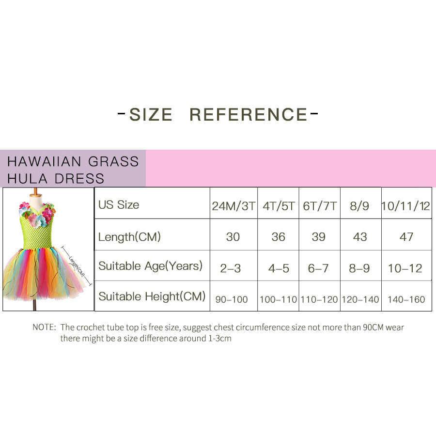 בנות הוואי דשא הולה טוטו שמלה עם פרח גרלנד שרשרת ילדים בעבודת יד קשת טול תלבושות ואאו חג מסיבת שמלה