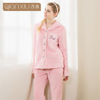 Winter Pajama Sets Women Thick Warm Flannel Pyjamas Female Long Sleeve Letter Printing Sleepwear Home Suits