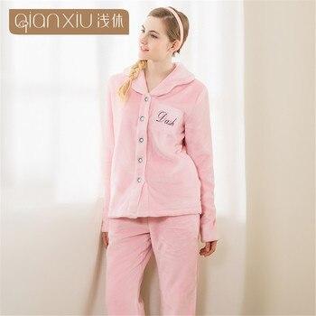Winter pajama sets women Thick Warm flannel Pyjamas Female Long Sleeve letter printing Sleepwear Home Suits Sleep adult pajamas