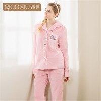 Winter Pajama Sets Women Thick Warm Flannel Pyjamas Female Long Sleeve Letter Printing Sleepwear Home Suits