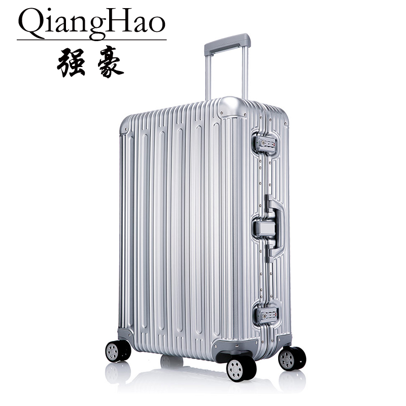 QiangHao 202529 inch 100% pure Aluminum Alloy pull rod suitcase TSA customs lock silent universal wheel hard metal luggage
