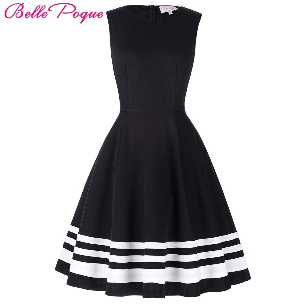 Buy Cheap Belle Poque 2017 Retro Vintage Sleeveless Black White Print 50s 60s Vintage Dresses Audrey Hepburn Plus Size Womens Clothing