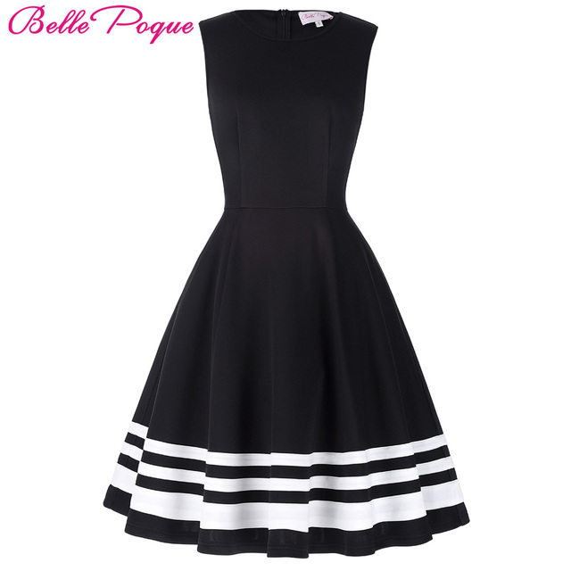 e778ed65daf Belle Poque 2018 Retro Vintage Sleeveless Black White Print 50s 60s Vintage Dresses  Audrey Hepburn Rockabilly Womens Clothing
