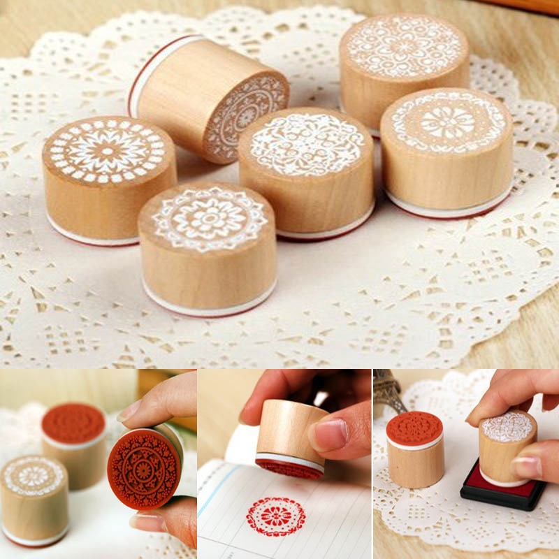 One Piece Round Wooden Vintage Pattern Stamps Toy DIY Lace Series Drawing Paint Tools Graffiti Toys For Children