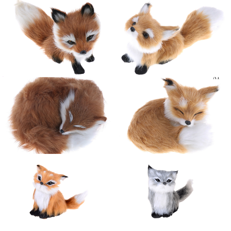 6Styles Cute Simulation Fox Toy Mini Squatting Fox Model Home Decoration Wedding Birthday Gift Stuffed Plush Toys