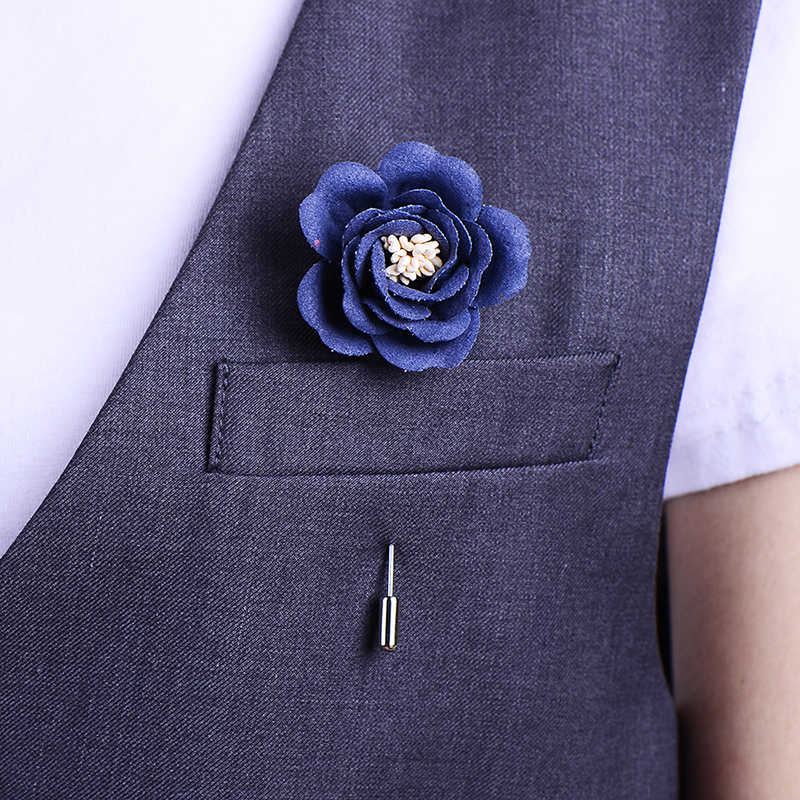985ca761c5c15 VEKNO Men Lapel Flower Pin Brooches for Suits Multi Color Men Wedding  Flower Corsage Jacket Lapel Pin Brooches Handmade Jewelry
