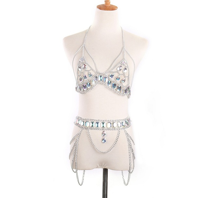 Jeweled Bikini Top and Belt Set 3
