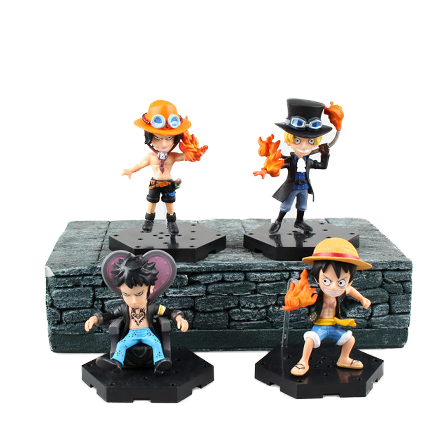 Chanycore Anime ONE PIECE New World Ace Luffy Law Sabo 4pcs/set 8CM Action Figures PVC onepiece toys doll model collection